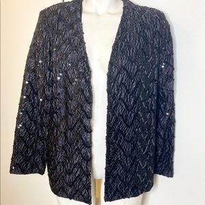 Designers Choice Black Sequins Beaded Eve Jacket L